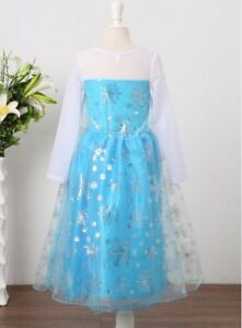 Robe Déguisement Costume Reine Neiges Frozen Elsa Anna Fille Princesse Noel