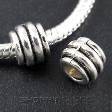 50pcs Tibetan Silver Tone Spacer Beads Fit European Charms Bracelet Barrel Daisy
