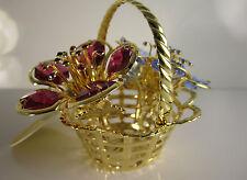 Cesta de flores con Swarowski CRISTALES equipado chapado en oro decoración
