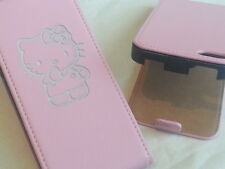 Iphone 5 HELLO KITTY GENUINE LEATHER pink flip phone case cover five Apple