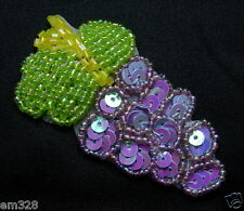 TF18 Lavender Grape Vine Sequined Beaded Applique Motif Jewel Sewing/Trim/Craft