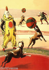 Clown Dog Boxers Vintage Circus reproduction Art 8x10 inch Giclee Canvas Print