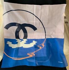 BNWT Authentic Chanel 100% Cotton Square Scarf with Large CC Logo