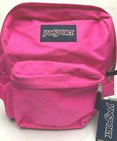 JANSPORT SUPERBREAK Daypack school/college backpack Book Bag Fluorescent PINK