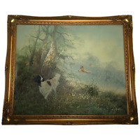 Fine Art English Oil Painting Hunting Setter Dog & Pheasants In Flight Leiford