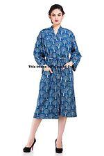 Indian Block Print Cotton Indigo Blue Nightwear Kimono Robe Dressing Gown Maxi