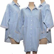 Blue Bleach Denim Oversized Shirt Dress by Boutique Size UK 12 EUR 40 US 8