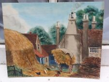 Antico Farm Yard senza cornice non firmato dipinto originale acquerello su carta