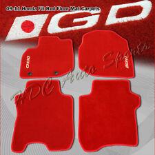 For 2009-2011 Honda Fit 4 PC Red Nylon Non Skid Floor Mats Carpets White GD Logo