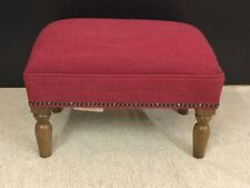Footstool upholstered in a Laura Ashley fabric Dalton cranberry