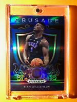 Zion Williamson SILVER BLUE REFRACTOR ROOKIE PANINI PRIZM DRAFT PICKS CRUSADE RC