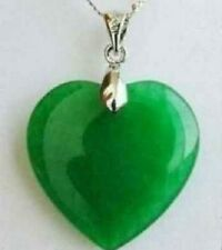 hot!!Fashion Solitaire Green Jade Heart Shape Silver emerald Pendant + Chain