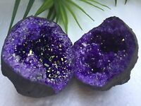 Purple Geode Pair Open Crystal Quartz Gemstone Specimen Morocco Geode Dyed Reiki