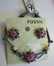 FOSSIL BRAND STARBURST PINK RHINESTONE BRACELET AND STUD EARRINGS