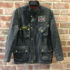 Mens Barbour International Union Jack Wax Jacket Coat Black Size Small