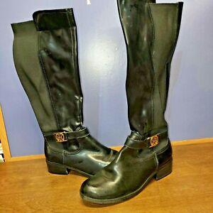 Tommy Hilfiger Women's TW Imina Logo Riding Boots Black Leather Size 8 US