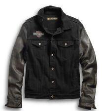 Harley Davidson Leather Sleeve Denim Jacket Graphic Distressed Black Medium VTG