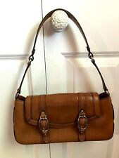 Cole Haan Tan Brown Leather with Gold Buckles Flap Bag Purse Handbag