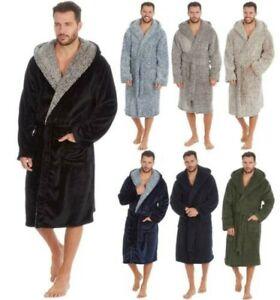 Hommes Robe de Chambre Épais Blottir Polaire Chaud à Capuche Drapé Peignoir