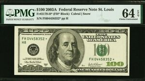 Fr. 2179-H* $100 2003A Federal Reserve Note. PMG Choice Uncirculated 64 EPQ.