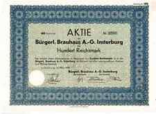 Bürgerliches Brauhaus AG, Insterburg/Tschernjachowsk  1929