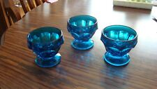 3 Vintage Cobalt Blue Glass Fruit, Sundae Ice Cream Dessert Footed Glass Cups!