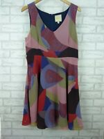 ModCloth Fit & Flare Dress Pink, Green Print V-Neck Sleeveless Sz L, 12