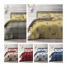 Stag Red Grey Ochre Navy Tartan Check Reversible Duvet Quilt Cover Bedding Set