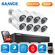 SANNCE 5MP PoE Security Home Outdoor Camera System 8CH NVR Video Surveillance 2T