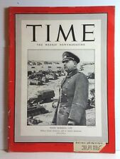 Mar 24 1941 TIME Magazine- Nazi Marshal List on Cover- News/Photos/Ads  VG