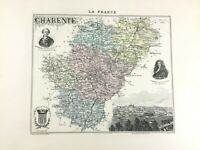 1893 Antique Map of Charente Angouleme France French Region Old Hand Coloured