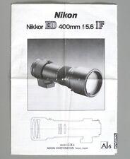 Nikon Nikkor ED 400mm F4.6 IF Ai-S Instruction Manual multi-language