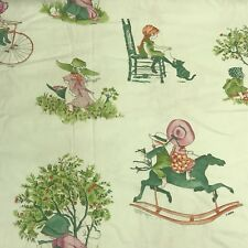 H Hobbie Holly Hobbie Vtg Green Fabric Horse Tree Bike Cat  Kitten Music Boy