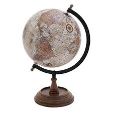Brown Sepia World Globe W/ Stand Office Study Nautical Rustic Decor Accent 14in