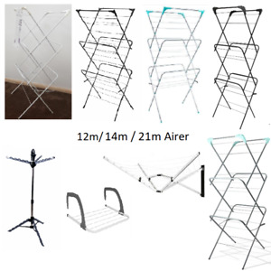 12m 14m 21m 3 Tier Laundry Clothes Horse Drying Airer In/Outdoor Wall Mounted