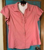 Women Bit & Bridle Shirt blouse  Pearl Snaps Ruffle Front Western Pink Size 3X