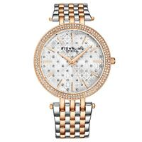 Stuhrling Women's Silver/Rose Stone Studded  Stainless Steel Link Bracelet Watch
