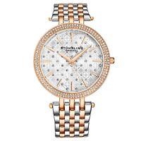 Stuhrling Women's Silver/Rose Stone Studded  Stainless Steel Link Bracelet Watch
