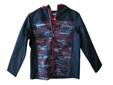 Free Country Boys Size Large 7/8 Full Zip Hooded Softshell Jacket, Red Flag
