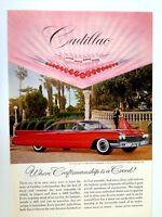 1960 Cadillac 2 Door Hardtop Vintage Original Print Ad GM Automobile Red