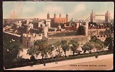 Tower & Tower Bridge London Postcard 1925