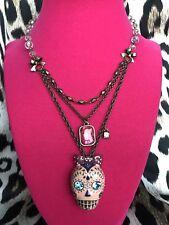 Betsey Johnson Viva La Betsey Sugar Skull Dia De Los Muertos Rosary Necklace