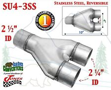 """SU4-3SS Stainless Exhaust Y Pipe Adapter Connector 2 1/2"""" Single to 2 1/4"""" Dual"""