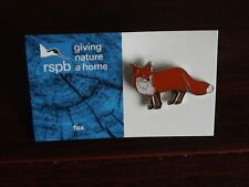 RSPB GNaH fox Metal Pin Badge on Blue FR Card