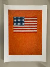JASPER JOHNS,'FLAG ON ORANGE FIELD,1957, ' RARE 1997 ART PRINT