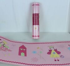 LAURA ASHLEY Fairy Princess Fun Fairies Pink Wallpaper Border 2 Rolls Matt Vinyl
