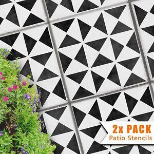 2x Square 45 and 60Garden Patio Stencils for Concrete Floor Slabs - Samara