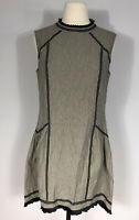 rag & bone Gray and Black Eyelet Lace Details Sleeveless Fit and Flare Dress M?