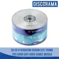 50 CD -R VERBATIM VERGINI VUOTI 52X 700MB PER AUDIO DATI VIDEO GAMES MUSICA