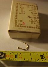 Full Box of 100 Mustad Round Fishing Hooks 92263 Gold plated size 6